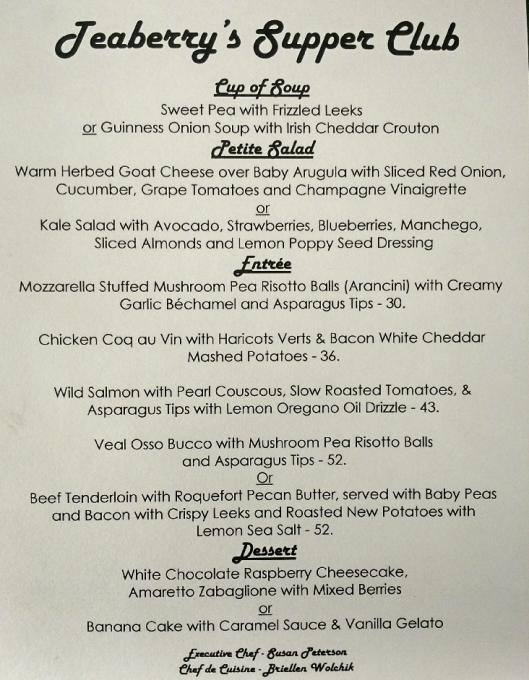Teaberry's Supper Club sample menu