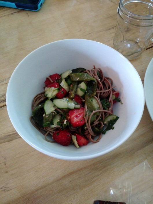Killer salad with Japanese soba noodles, chile and strawberries