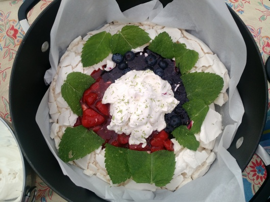 Red, White and Blueberry Pavlova