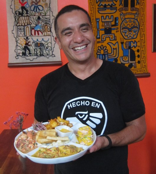 Jack Egoavil Displays a Sampler of Peruvian Food