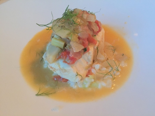 Evy's Halibut in light broth
